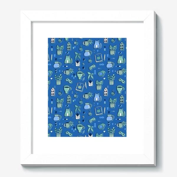 Картина «Мне уютно. Синий паттерн с котом, кофе, цветами.»