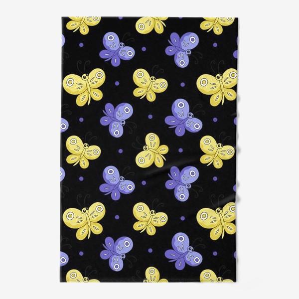 Полотенце «Желтые и фиолетовые бабочки на черном»
