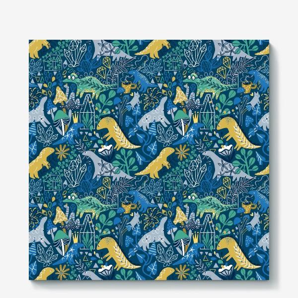 Холст «Динозавры и котик в саду. »