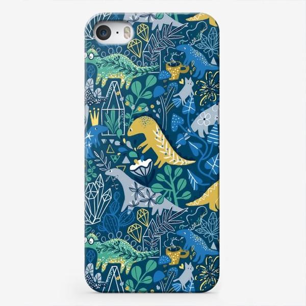 Чехол iPhone «Динозавры и котик в саду. »