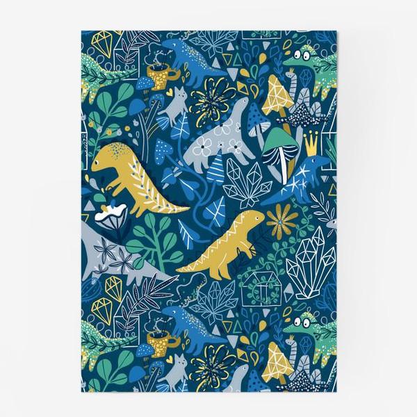 Постер «Динозавры и котик в саду. »