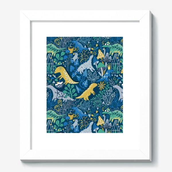 Картина «Динозавры и котик в саду. »