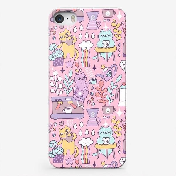 Чехол iPhone «Кофе и котики. Розовая кофейня.»