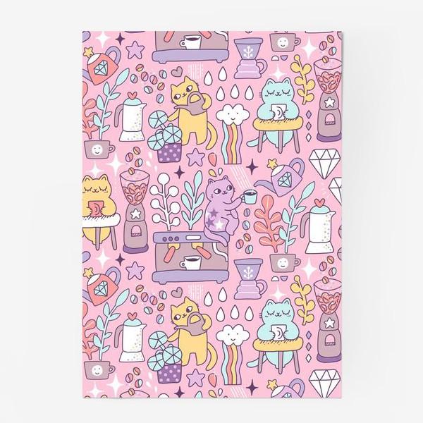 Постер «Кофе и котики. Розовая кофейня.»