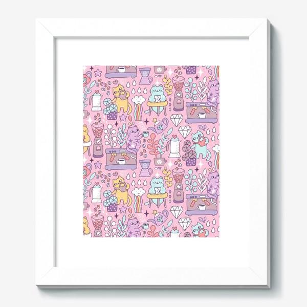 Картина «Кофе и котики. Розовая кофейня.»