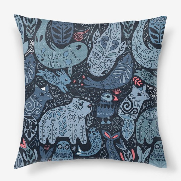 Подушка «Друзья Арктики. Зимние животные. Медведь, тупик, нарвал, кит, заяц, лиса, сова, морской котик, тюлень.»