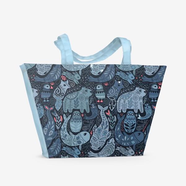 Пляжная сумка «Друзья Арктики. Зимние животные. Медведь, тупик, нарвал, кит, заяц, лиса, сова, морской котик, тюлень.»