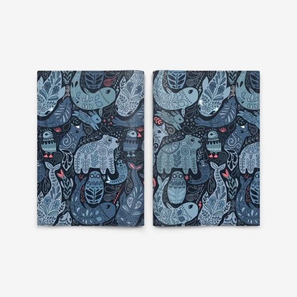 Обложка для паспорта «Друзья Арктики. Зимние животные. Медведь, тупик, нарвал, кит, заяц, лиса, сова, морской котик, тюлень.»