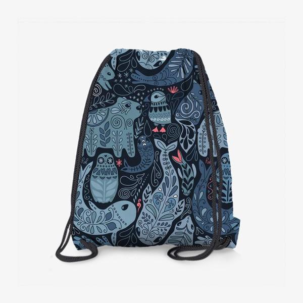 Рюкзак «Друзья Арктики. Зимние животные. Медведь, тупик, нарвал, кит, заяц, лиса, сова, морской котик, тюлень.»