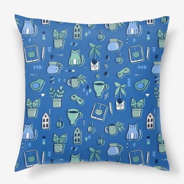 Подушка «Мне уютно. Синий паттерн с котом, кофе, цветами.»