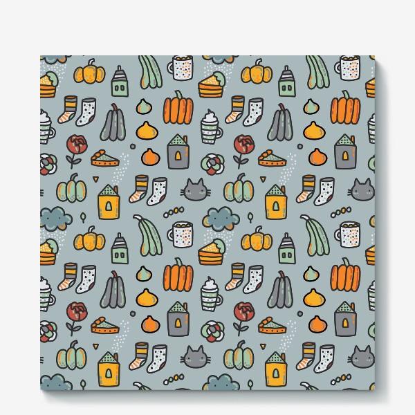 Холст «Уютная осень. Тыквы, коты, пироги, кофе  и какао»