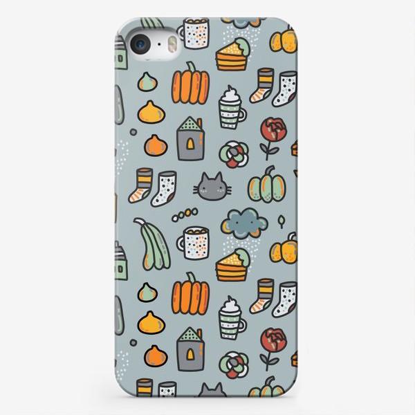 Чехол iPhone «Уютная осень. Тыквы, коты, пироги, кофе  и какао»