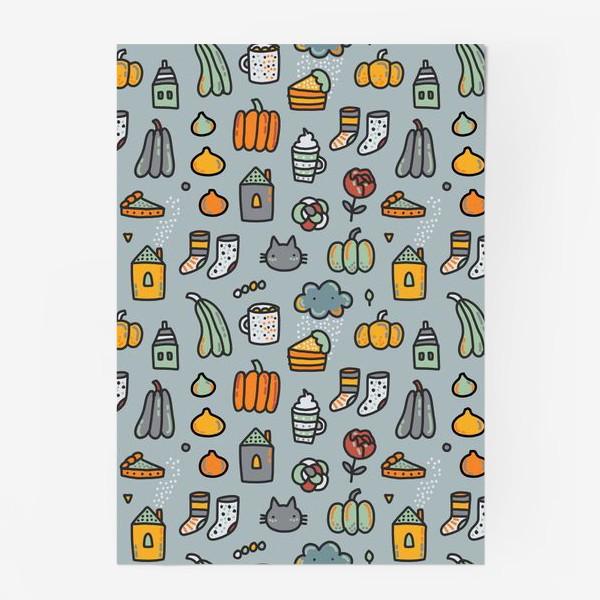 Постер «Уютная осень. Тыквы, коты, пироги, кофе  и какао»