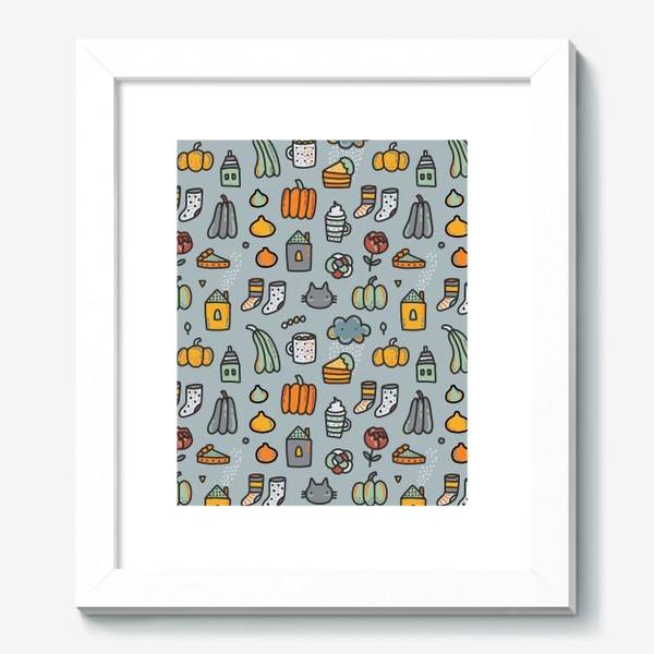 Картина «Уютная осень. Тыквы, коты, пироги, кофе  и какао»