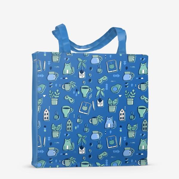 Сумка-шоппер «Мне уютно. Синий паттерн с котом, кофе, цветами.»