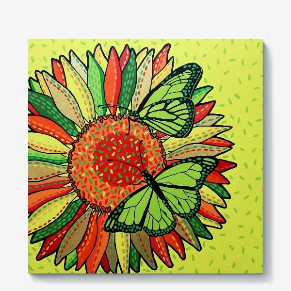 Холст «Лето. Бабочки на цветке»