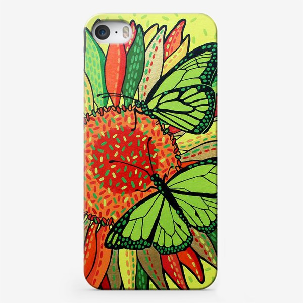 Чехол iPhone «Лето. Бабочки на цветке»