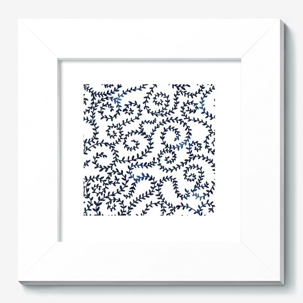 Картина «Паттерн с закручивающимися ветками, синее на белом»