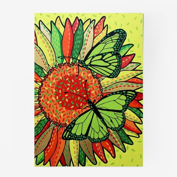 Постер «Лето. Бабочки на цветке»
