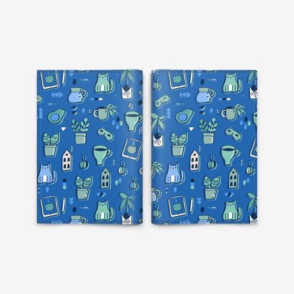 Обложка для паспорта «Мне уютно. Синий паттерн с котом, кофе, цветами.»