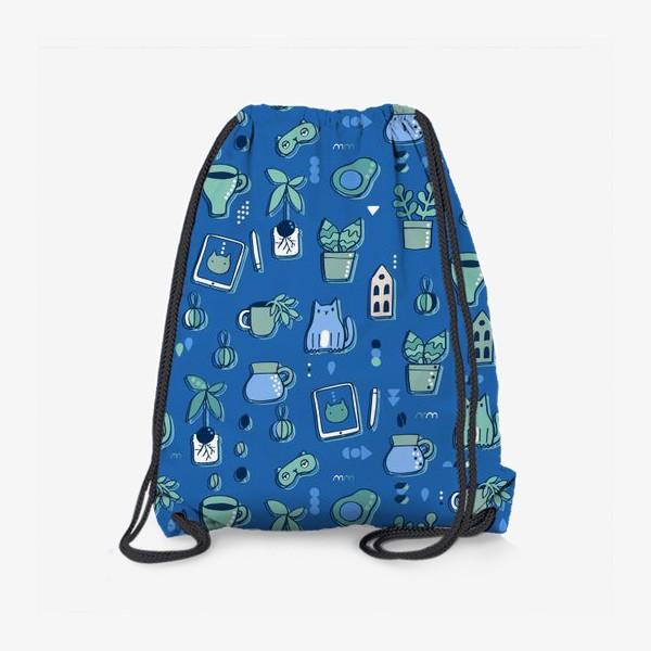 Рюкзак «Мне уютно. Синий паттерн с котом, кофе, цветами.»