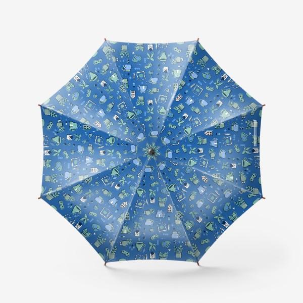 Зонт «Мне уютно. Синий паттерн с котом, кофе, цветами.»