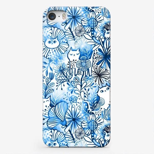 Чехол iPhone «Акварельные коты и цветы»