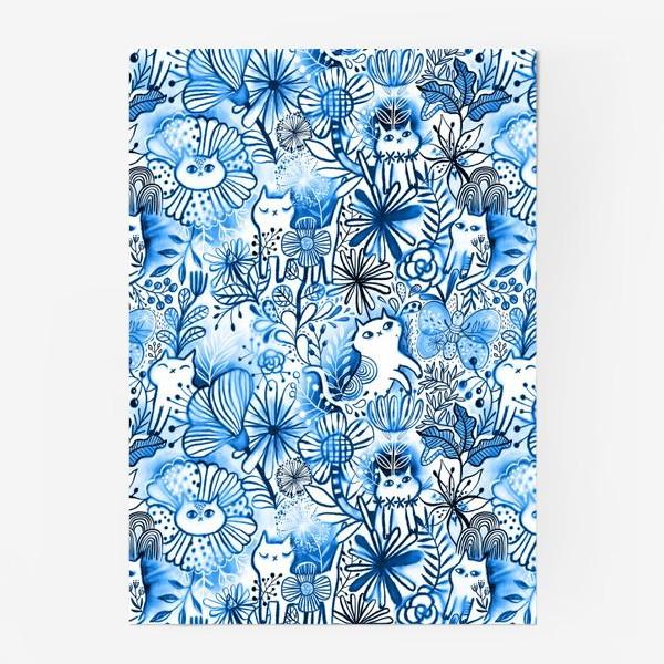 Постер «Акварельные коты и цветы»