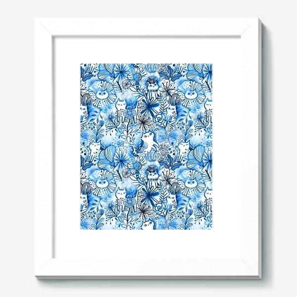 Картина «Акварельные коты и цветы»