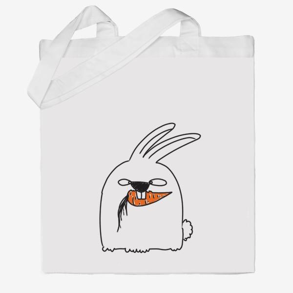 Сумка хб «Кролик грызет морковь »