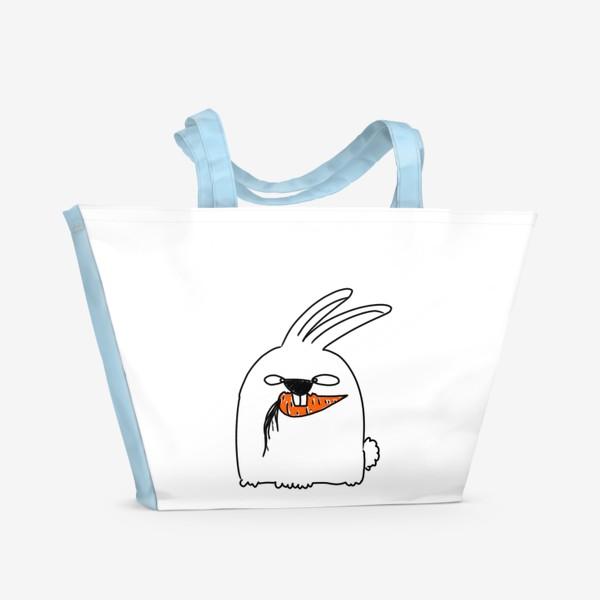 Пляжная сумка «Кролик грызет морковь »