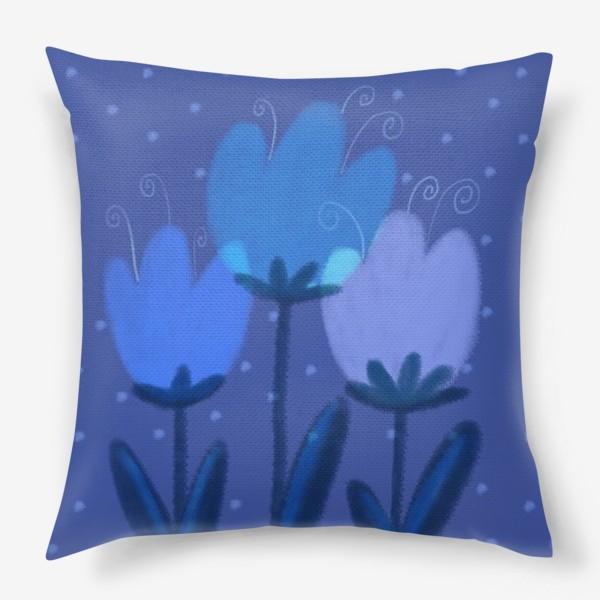 Подушка «Синие тюльпаны»