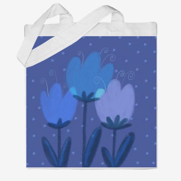 Сумка хб «Синие тюльпаны»