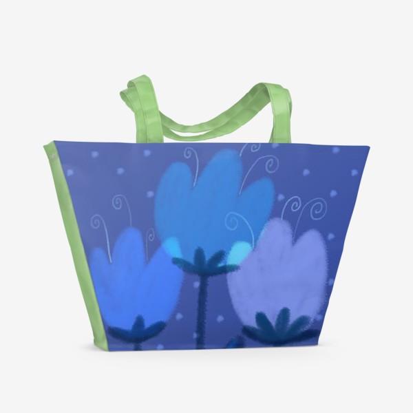 Пляжная сумка «Синие тюльпаны»