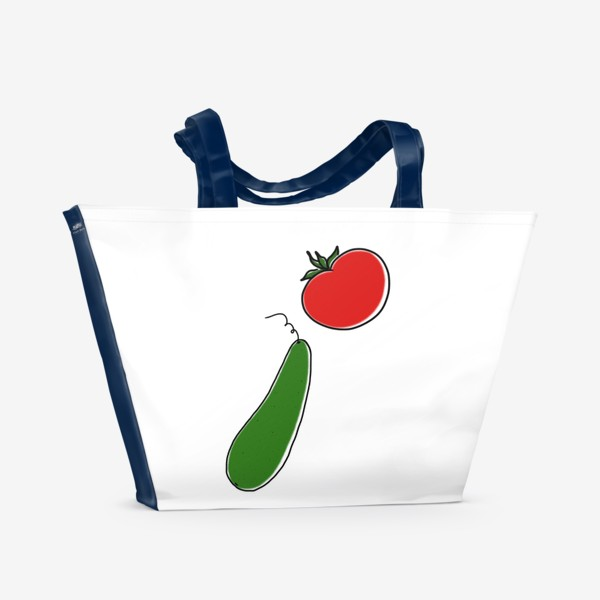 Пляжная сумка «Томат и огурец. Летнее »