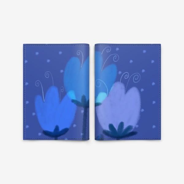 Обложка для паспорта «Синие тюльпаны»
