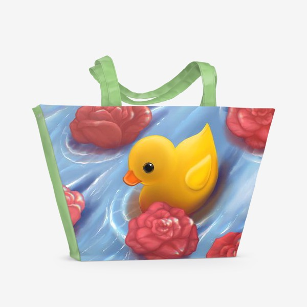 Пляжная сумка «Уточка в розах»