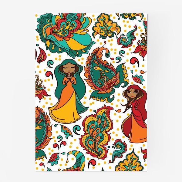 Постер «Паттерн с индийскими девушками в сари, вайшнави и индийские узоры»