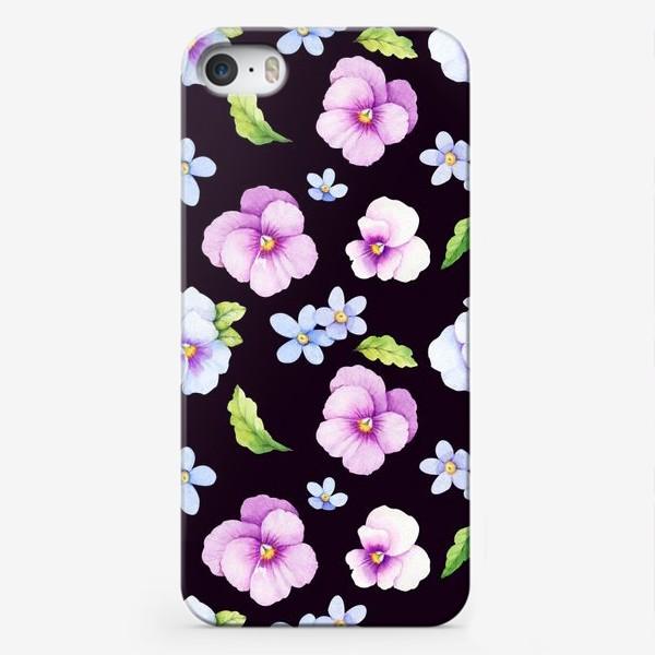 Чехол iPhone «Виола и незабудки на черном фоне»