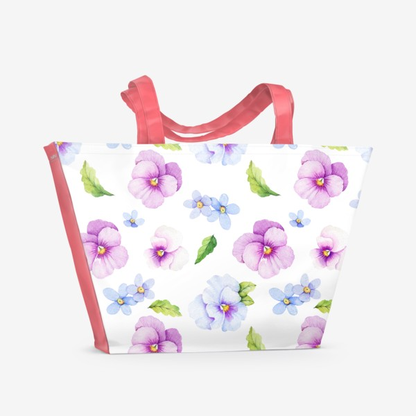 Пляжная сумка «Виола и незабудки на белом фоне»