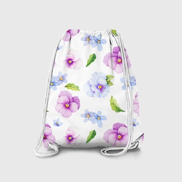 Рюкзак «Виола и незабудки на белом фоне»