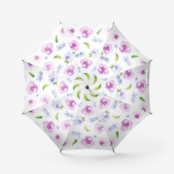 Зонт «Виола и незабудки на белом фоне»