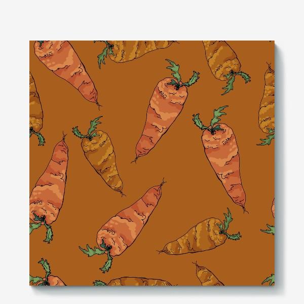 Холст «Морковный паттерн на терракотовом »