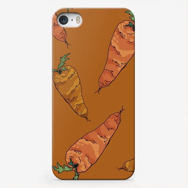 Чехол iPhone «Морковный паттерн на терракотовом »