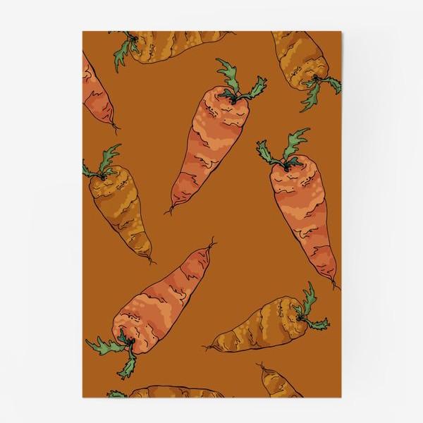 Постер «Морковный паттерн на терракотовом »