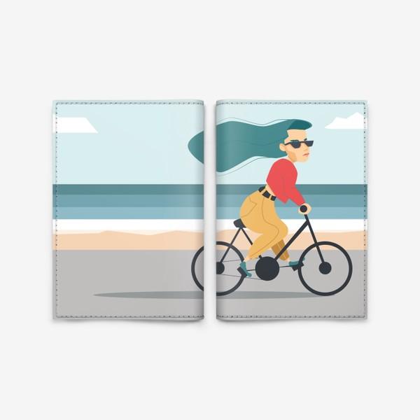 Обложка для паспорта «на велике вдоль пляжа»