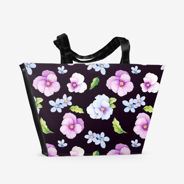 Пляжная сумка «Виола и незабудки на черном фоне»