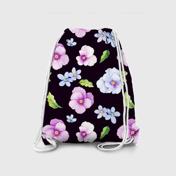 Рюкзак «Виола и незабудки на черном фоне»
