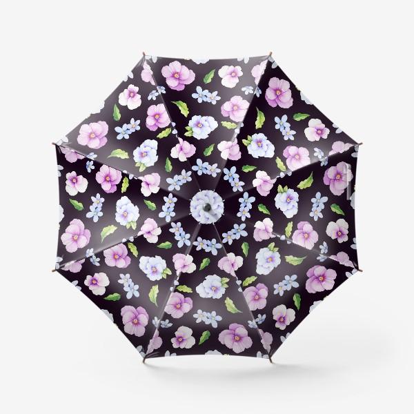 Зонт «Виола и незабудки на черном фоне»