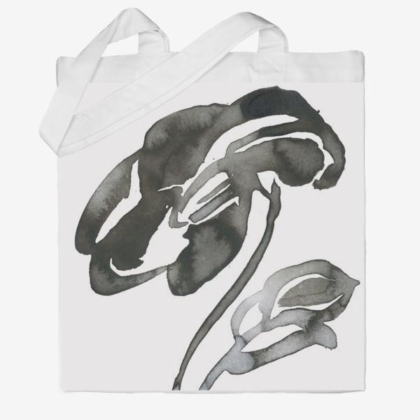 Сумка хб «Цветок, графика, чернила»